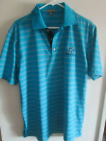 ⛳🏌Peter Millar Summer Comfort Mens Medium Golf Polo Shirt Blue w/Stripes ⛳🏌