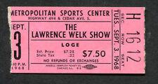 1968 Lawrence Welk Show Concert Ticket Stub Met Center Bloomington Minneapolis