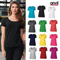 Anvil Women's Featherweight Scoop Neck Tee 391 -Ladies Plain Short Sleeve TShirt