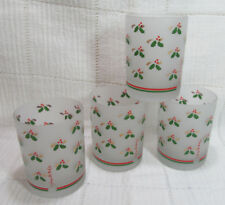 Georges Briard Four (4) Frosted Holly Double Old Fashioned Tumblers Vgc
