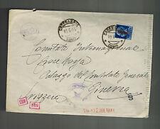 1944 Como Italy Socialist Republic censored cover to Switzerland Red Cross