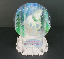 Unicorn Magical Christmas Greeting Card Snow Globe Pop Up Holiday Card