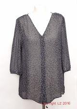 L076/15 Planet Animal Print 100% Silk Grey Blouse, size UK 10