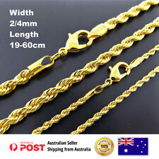 Necklace Chain Bracelet 18k Yellow G/F Gold Solid Singapore Rope Link 19-60 cm