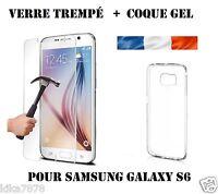 LOT Coque Etui Housse Silicone slim Samsung Galaxy S6 +Film Verre Trempé
