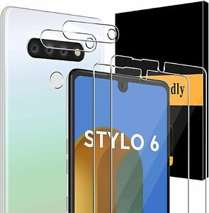 4-Pack Screen Protector + Camera Lens Protector for LG Stylo 6 Tempered Glass