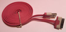 Heavy Duty strong apple iphone 4 4S Ipod Ipad 2 3 USB lead cable flat 3M Pink