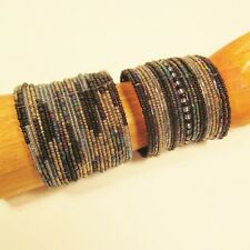 2 Blue Denim Silver Wide Bling Boho Cuff Handmade Bracelets Bali Seed Bead