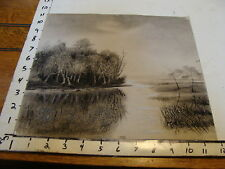 original early artwork: Water scene with birds, distant house Black & white