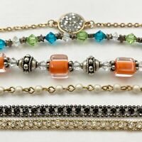 Vintage To Now Bracelet Lot Tennis Glass Rhinestones  Faux Pearls 6 pcs