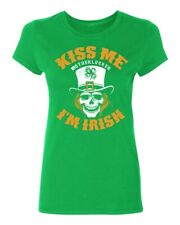 Irish Skull Kiss Me Motherlucker Women's T-shirt funny drinking St.Patrick's Day