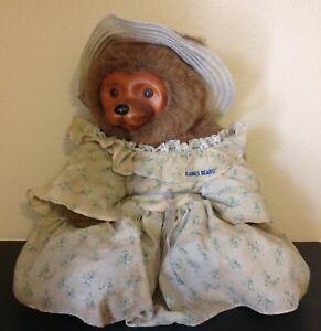 """VTG 80s Robert Raikes Bear 14.5"""" brown Bonnet Dress Applause Teddy Bear"""