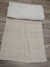 Homespun heavy hemp fabric 0,62x7,5m grey/light grey 19thC Great  condit NOTUSED
