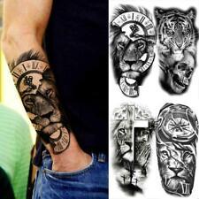 Black Compass Lion Temporary Tattoos Realistic Fake Tiger Skull Cross  Sticker