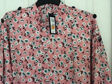 PRETTY MARKS AND SPENCER M&S SILKY PINK FLORAL BLOUSE TOP SIZE 24 BNWT RRP £25