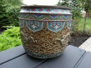 Antique Bronze Dragon Jardiniere or Chinese Planter with Champleve Japanese Fine