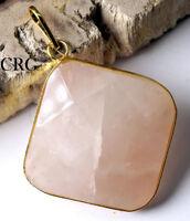 Gold Plated Faceted Square Rose Quartz Pendant (FC12DG)