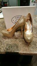 Gold Sparkle Steve Madden Platform Stilettos