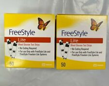 100 FreeStyle Lite Glucose Blood Test Strips Dents/Dings exp 5/2022 Ship Free!