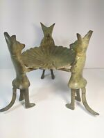 Vintage Brass Fox Butlers Candleholder Rare
