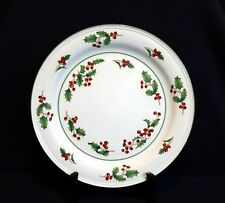 "Sango White Christmas Holly Berries 12"" Round Chop Plate Platter"