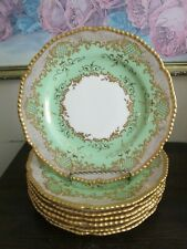 Coalport Tiffany & Co England Porcelain Set Of 8 Luncheon Plate Heavy Gold Green