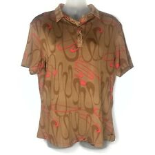 Jamie Sadock Women's Short Sleeve Golf Shirt Blouse Snap Buttons Brown Red Sz M