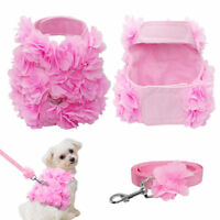 Pink Small Dog Harness and Leads set Vogue Flower Studded for Puppy Chihuahua