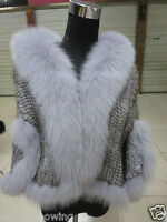 Women /Real  Mink Fur knitted Cape with sleeves  With best Fox Collar /Coat/Gray