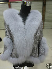 Elegance/Real best Fox collar Mink fur knitted cape with sleeves /coat/gray