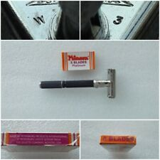 Vintage 1976 Gillette Super Adjustable Safety Razor  W 3 + (5 Minora blades)