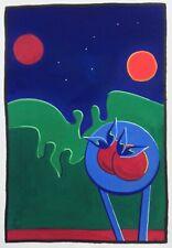 "Dimitris C. Milionis ""BLUE TABLE"" Signed Hand Colored Print Greek Artist 1996"