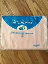 Vtg Lady Pepperell Combed Percale Full Double Bed Sheet Fitted Pink New