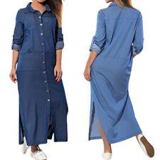 UK 8-24 ZANZEA Womens Denim Blue V Neck Long Sleeve Maxi Split Dress Plus Size