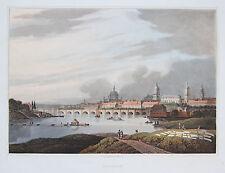 Bowyer: Original Old Coloured aquatintaradierung Dresden Saxony Panorama; 1815