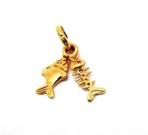9ct Gold Small Fish and Fish Bone Charm                                   A32456