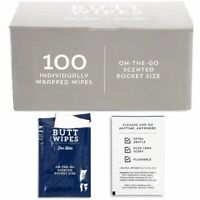 100x Butt Wipes for Men Wrapped Flushable Wet Wipes for Travel Aloe Vera Scented