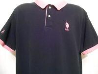 Mens Black / Pink #3 Short Sleeve Polo Shirt by U.S. Polo Assn., USPA, Adult L