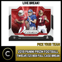 2019 PANINI PRIZM FOOTBALL 12 BOX (FULL CASE) BREAK #F411 - PICK YOUR TEAM