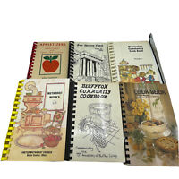 Vintage Lot of 6 Spiral Bound Cookbooks Ohio Apples Church Methodist Bluffton