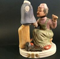 SEAMSTRESS FIGURINE GRANDMA SEWING PORCELAIN BISQUE VINTAGE 6 INCH