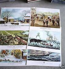 Vintage Currier & Ives Print Portfolio - 6 Prints 10x12 Inches