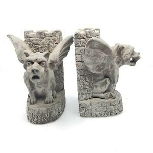 Set of Gargoyle Concrete Bookends Medieval Gothic