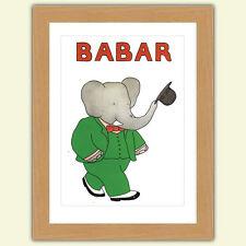 Delizioso Babar il elefante A3 Raso Stampa poster riproduzione Illustrazione N.3