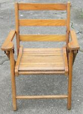 Vintage CHILDS WOODEN FOLDING CHAIR Wood Slat Seat ~ 100% original ~