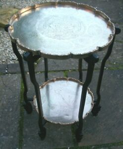 ANTIQUE CHINESE BRASS & WOOD TWO TIER FOLDING SERVING STAND SIDE TABLE