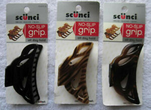 1 Scunci No Slip Grip Hold Sculpted Curved Plastic Open Holes Jaw Claw Hair Clip