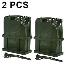 2X 5 Gallon Jerry Can Fuel Steel Tank Green Military NATO 20L Gasoline Storage