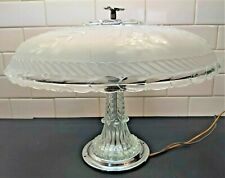 Vintage Antique Ceiling Light Fixture Clear & Frosted Lampshade Clear Glass Stem