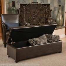 Contemporary Brown Leather Storage Ottoman Coffee Table